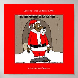 Santa el poster divertido del navidad del oso