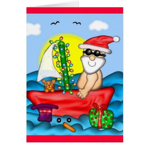 Santa el vacaciones con el compinche de la nieve tarjeta