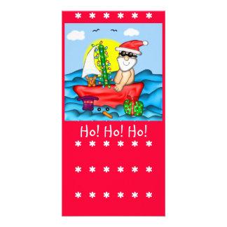 Santa el vacaciones con la marca de libro del comp plantilla para tarjeta de foto