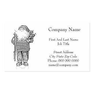 Santa elegante en el dibujo de lápiz del suéter tarjetas de visita