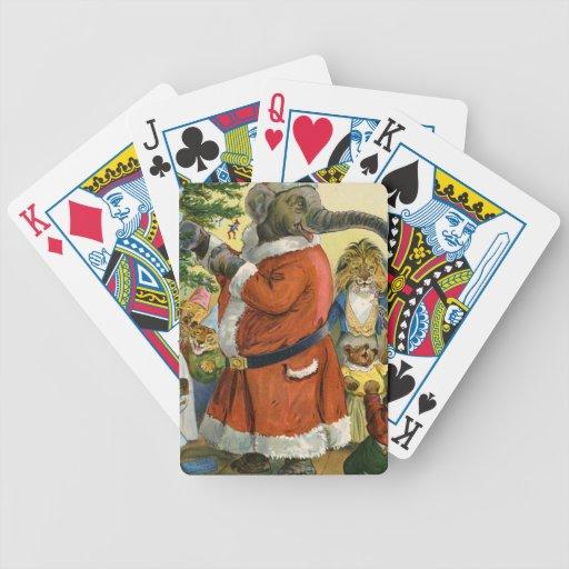 Santa Elephant Celebrates an Animal Christmas Bicycle Poker Deck