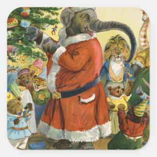 Santa Elephant Celebrates an Animal Christmas Square Sticker