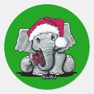 Santa Elephant Stickers