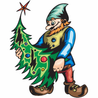Santa Elf and Christmas Tree Standing Photo Sculpture