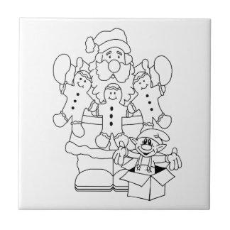 Santa & Elf Christmas Colour-In Ceramic Tile