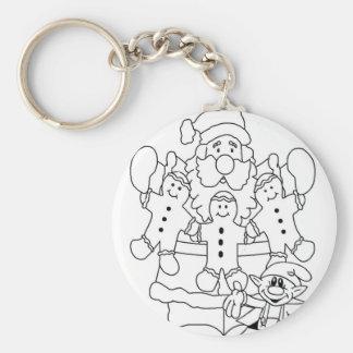 Santa & Elf Christmas Colour-In Keychain