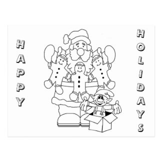 Santa & Elf Christmas Colour-In Postcard