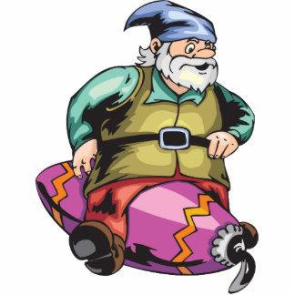 Santa Elf Sitting On Ornament Standing Photo Sculpture