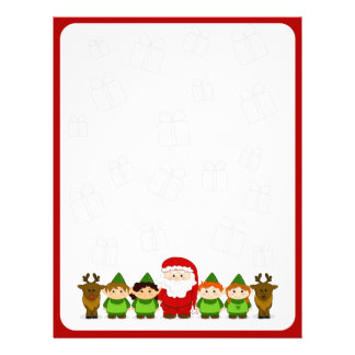 Santa, Elves and Reindeer Christmas Letter Paper