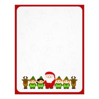 Santa, Elves and Reindeer Christmas Letter Paper Letterhead
