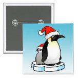 Santa Emperor Penguin Button