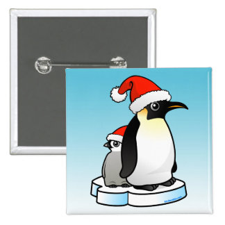 Santa Emperor Penguin 2 Inch Square Button