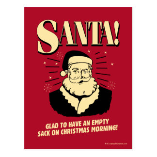 Santa: Empty Sack On Christmas Morning Postcard