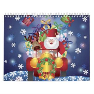 Santa en calendario clásico del coche