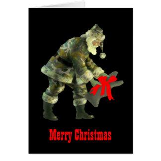 Santa en camuflaje tarjeton