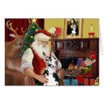 Santa en casa - great dane (Harlequin) Tarjetón