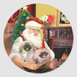 Santa en casa - Pekingese (r) - Santa Etiquetas Redondas