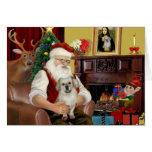 Santa en casa - perro de aguas tibetano 1 - Santa Tarjeta