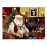 Santa en casa - perro de aguas tibetano 1 - Santa Postal
