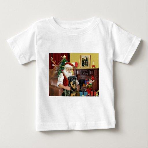 Santa en casa - Rottweiler 3 Playera