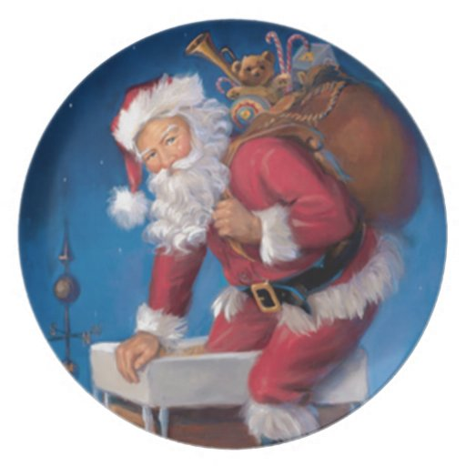 Santa en chimenea plato de cena