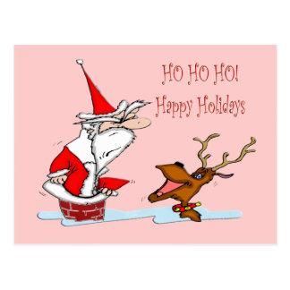 Santa en chimenea tarjeta postal