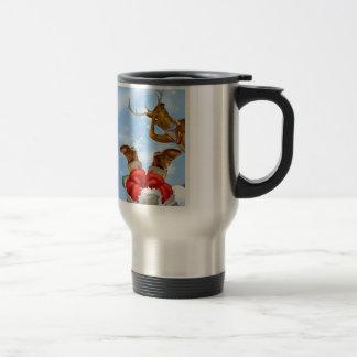Santa en chimenea y reno taza de café