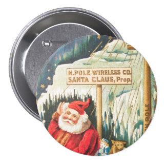 Santa en el botón de la compañía inalámbrica de pin