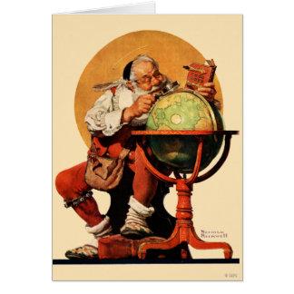 Santa en el globo tarjeta de felicitación