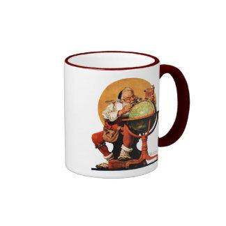 Santa en el globo taza de dos colores