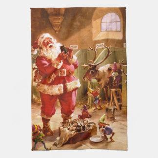 Santa en el granero del reno toalla de cocina