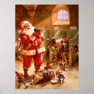 Santa en el granero del reno póster