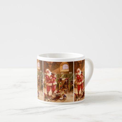 Santa en el granero del reno tazitas espresso