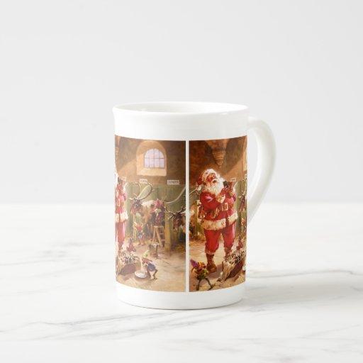 Santa en el granero del reno taza de porcelana