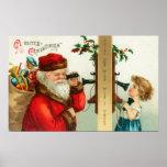 Santa en el teléfono con la niña póster