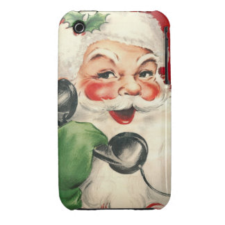 Santa en el teléfono Case-Mate iPhone 3 carcasa