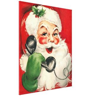 Santa en el teléfono impresión en lienzo