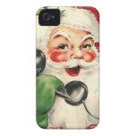 Santa en el teléfono iPhone 4 funda