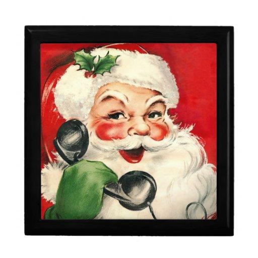 Santa en el teléfono joyero cuadrado grande