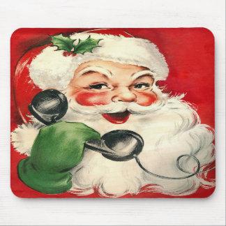 Santa en el teléfono tapete de raton
