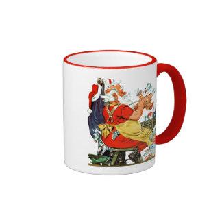 Santa en el trabajo tazas de café