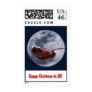 Santa en el vuelo del trineo por la luna