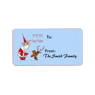 Santa en etiqueta del regalo de la chimenea etiqueta de dirección