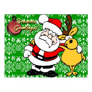 Santa en fondo verde tarjeta postal