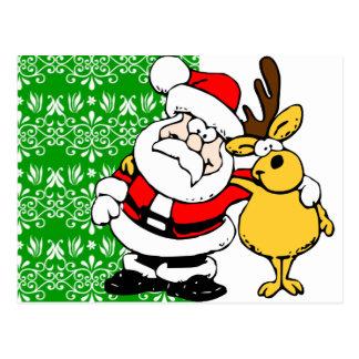 Santa en fondo verde postales