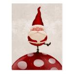 Santa en hongo tarjetas postales