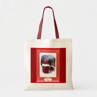Santa en la chimenea bolsa tela barata