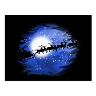 Santa en la noche tarjetas postales
