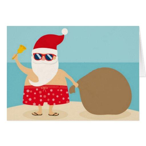 Santa en la playa felicitaciones