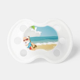 Santa en la playa, Santa el vacaciones Chupete De Bebe